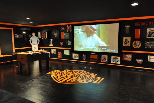 Harley Davidson Themed Theater Contemporary Home Theatre