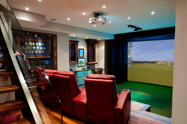 Hd golf simulators traditional home theater toronto for Interior design room simulator