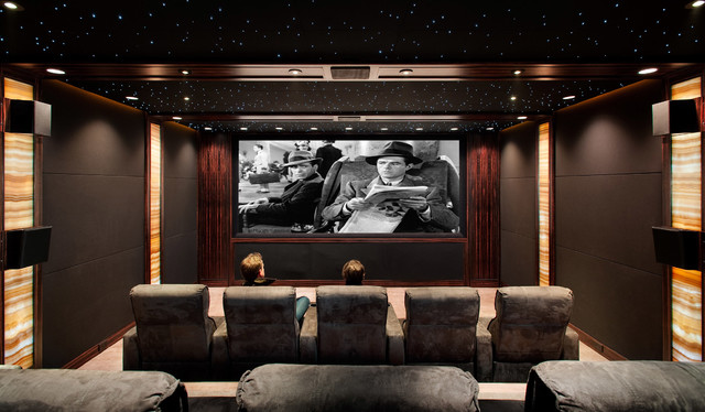 Hidden screening room traditional home theater san for Home theater decorations cheap