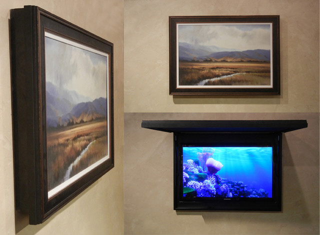 Hiding Your Flat Screen Tv Without Cutting Into The Wall Contemporary Home Cinema Orange County