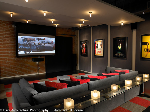 theaters throughout living room home design new | Hillcrest Urban Loft - Modern - Home Theater - San Diego ...