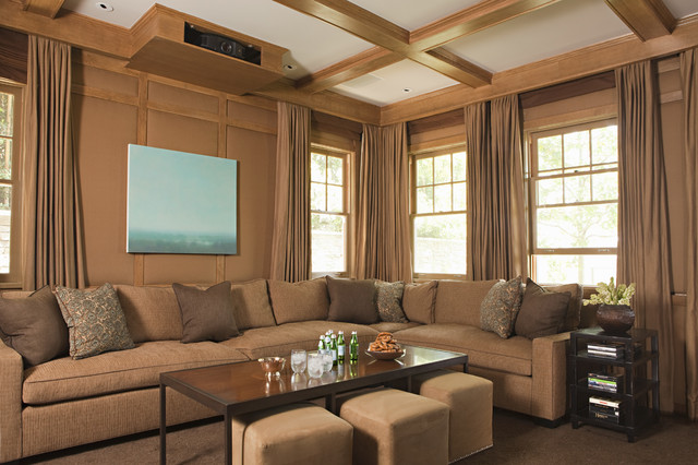 Transitional Enclosed Home Theater Photo In Los Angeles With A Projector  Screen