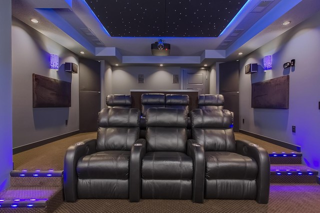 home theater modern home theater minneapolis by amaris custom homes. Black Bedroom Furniture Sets. Home Design Ideas