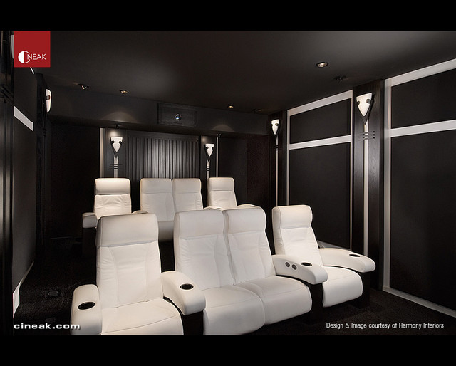 Home Theater By Harmony Interiors Featuring Cineak Seats Contemporary Home  Theatre