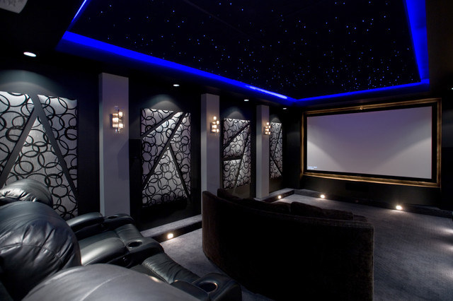 Example Of A Trendy Gray Floor Home Theater Design In Phoenix