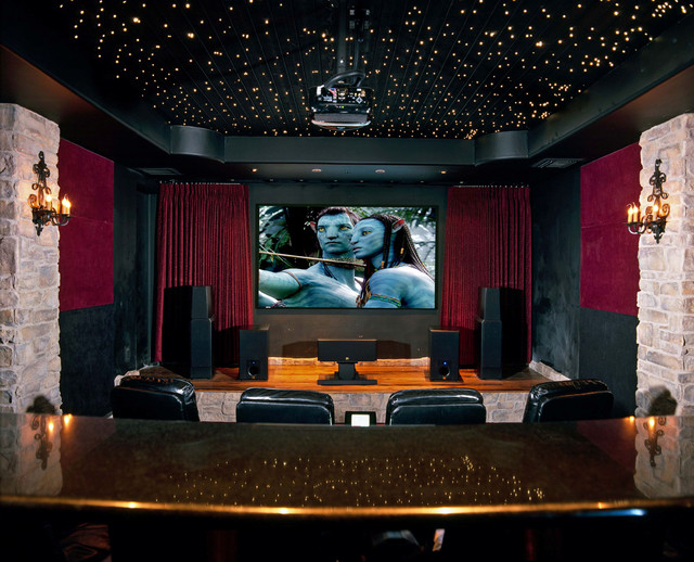Example Of A Clic Home Theater Design In Phoenix With Projector Screen