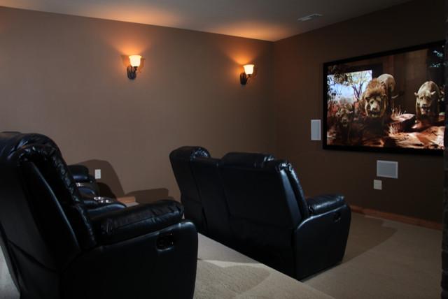 Home Theater Room - Mediterranean - Home Theater - Milwaukee ... on budget bathroom ideas, budget living room ideas, budget remodeling ideas, budget man cave ideas, budget family room ideas, budget game room ideas,