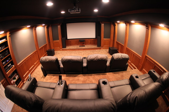 Home theater room traditional home theater detroit by mhi interiors Home theatre room design ideas in india