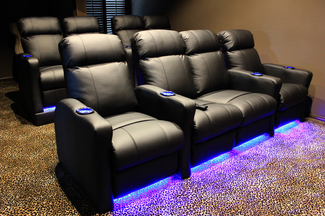 home theater seating with built in riser on back row