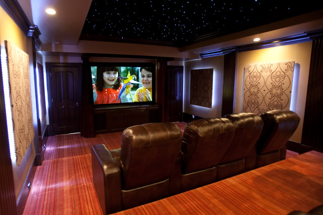 Home Theater With 3d Sky Ceiling Traditional Home Theater