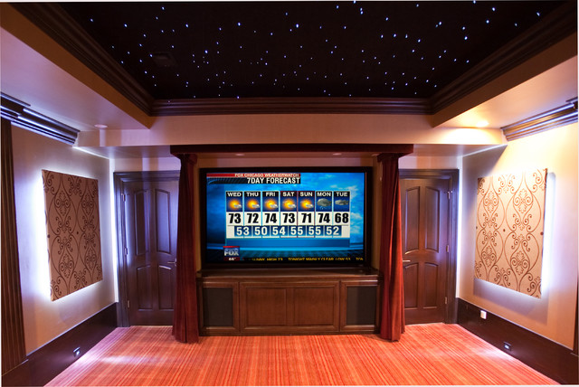Home Theater With Sky Ceiling Transitional