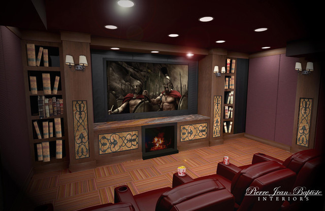 Home Theater with fireplace traditional media room