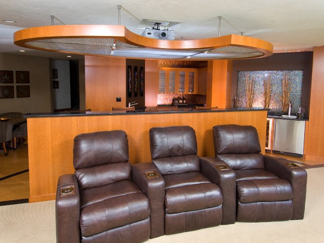 Home Theatre And Bar Contemporary Home Theater Other By Kitchen Bath Concepts Of