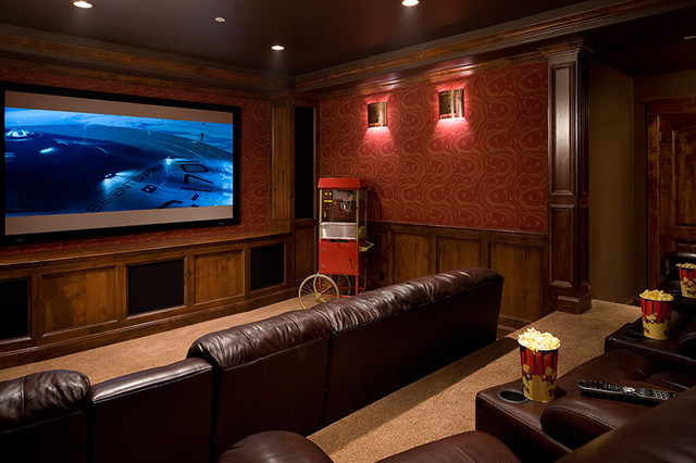 Superieur Large Elegant Enclosed Carpeted Home Theater Photo In Denver With A Media  Wall