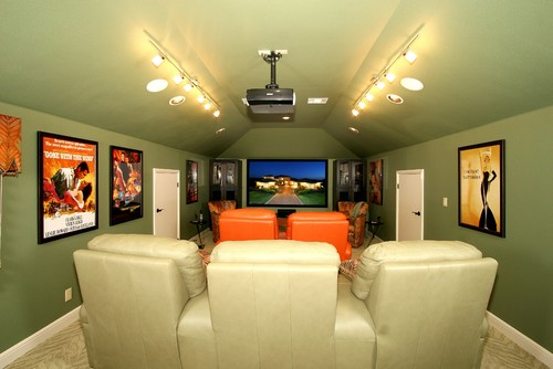 Eclectic Home Theater by Austin Home Builders Zbranek & Holt Custom Homes