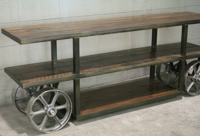 Industrial Trolley Cart Tv Stand Reclaimed Wood Steel