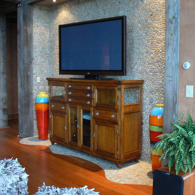 Java Pebble Tile contemporary-home-theater