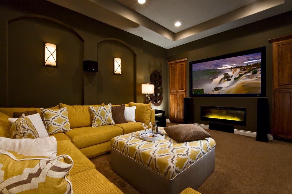 Home theater - transitional carpeted and brown floor home theater idea in Austin with brown walls and a projector screen