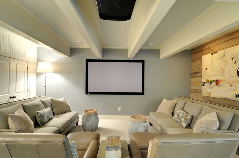 Home theater - mid-sized transitional carpeted home theater idea in Atlanta with multicolored walls