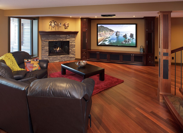 Kayu Flooring In Basement Contemporary Home Theater