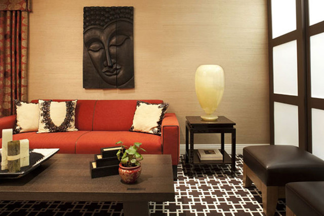 Kew gardens asian home theater new york by evelyn - Asian themed living room decor ...