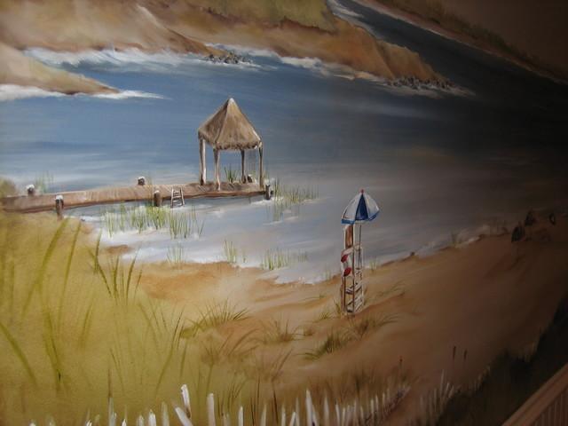 Lake Geneva mural beach-style-home-theater