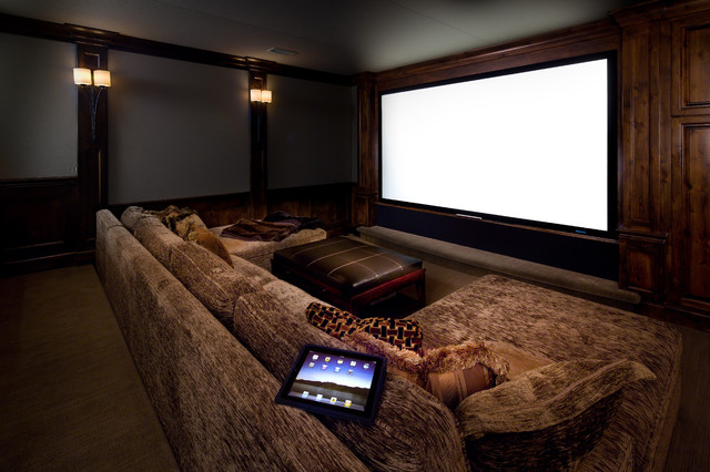 Lake Oswego Home contemporary-home-theater