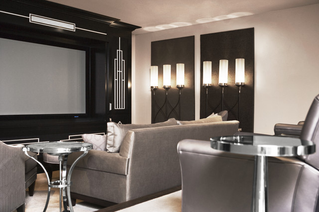 Lake Residence transitional-home-theater