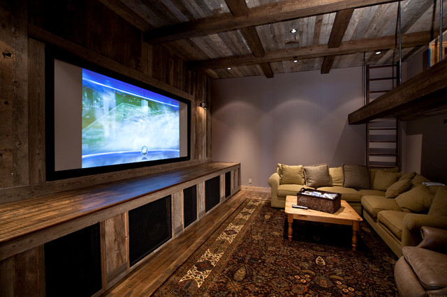 Lake Tahoe Dream Home Rustic Home Theater