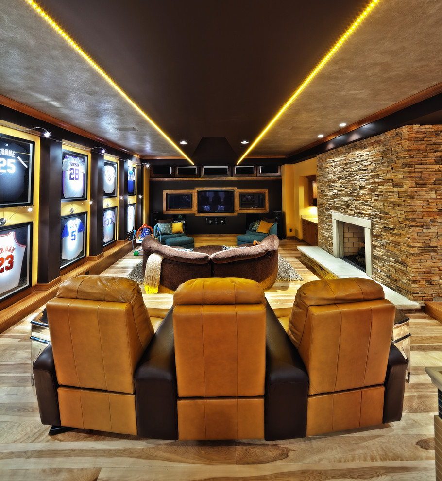 Inspiration for a contemporary home theater remodel in Cleveland