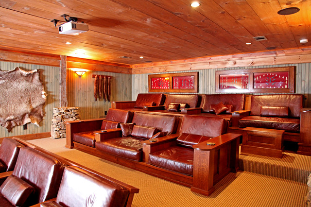 Lakeside Lodge Rustic Home Theater other metro by