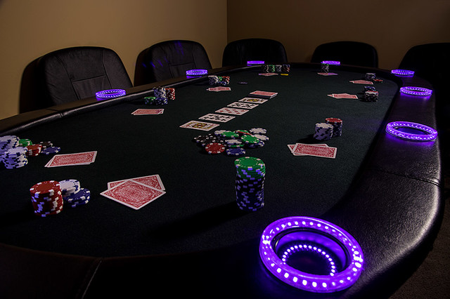 LED Poker Table Contemporary Home Theater