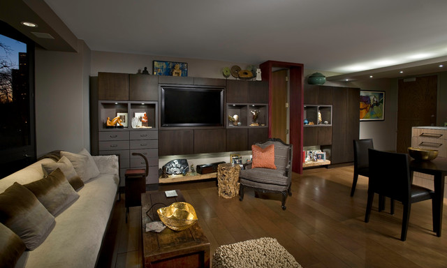 living room eclectic home theater chicago by