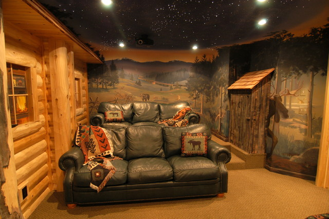 Log Home Theater Traditional Basement Detroit By
