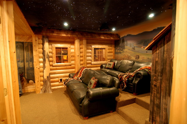 Log home theater - traditional - basement - detroit - by Foran
