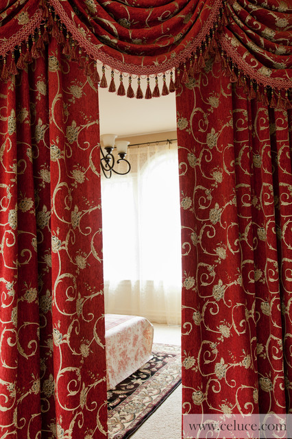 Louis XVI Swag Valance Window Treatment traditional media room