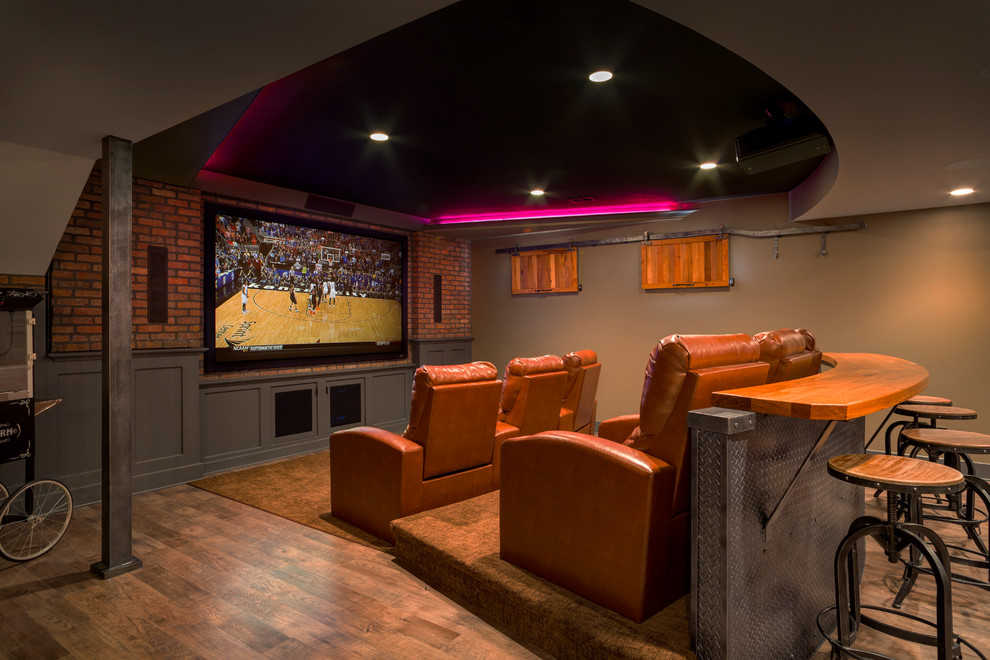 Lower Level Finish With Home Theatre And More Traditional