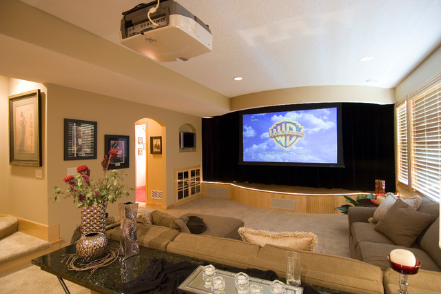 Lower Level Media Area traditional-home-theater