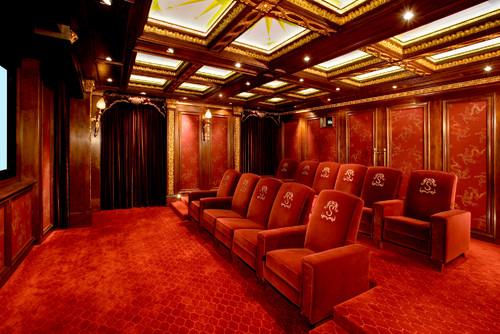 traditional media room by Interior Designer -Mark Cravotta