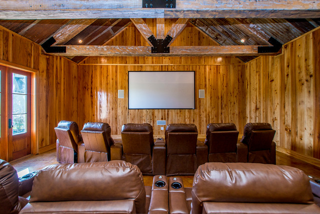 Man Cave Rustic Home Theater New Orleans by
