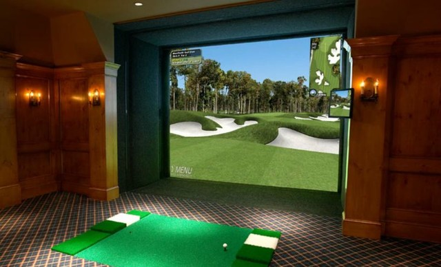 traditional media room Man Cave - Full Swing Golf Simulator