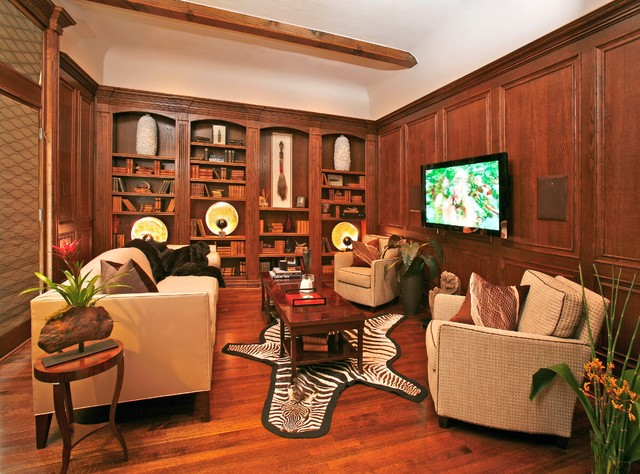 Masculine Study Traditional Home Theater Dallas By