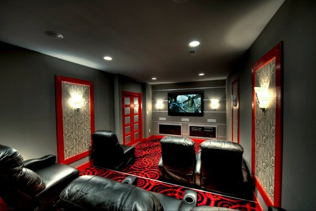 Mclean Theatre Room Seating Contemporary Home