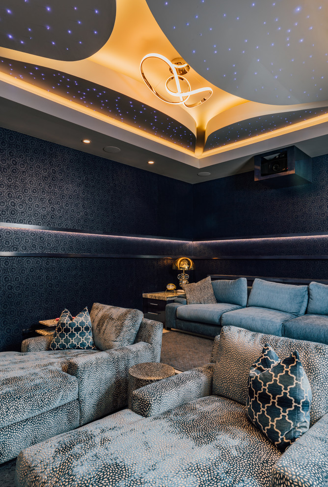 Trendy enclosed home theater photo in Other with black walls