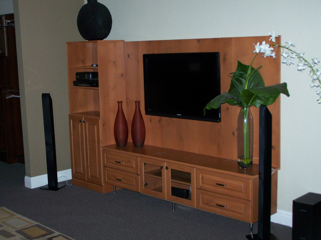 media and entertainment center with wall mounted tv. Black Bedroom Furniture Sets. Home Design Ideas