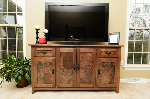 Attractive Media Console Cabinet Traditional Home Theater