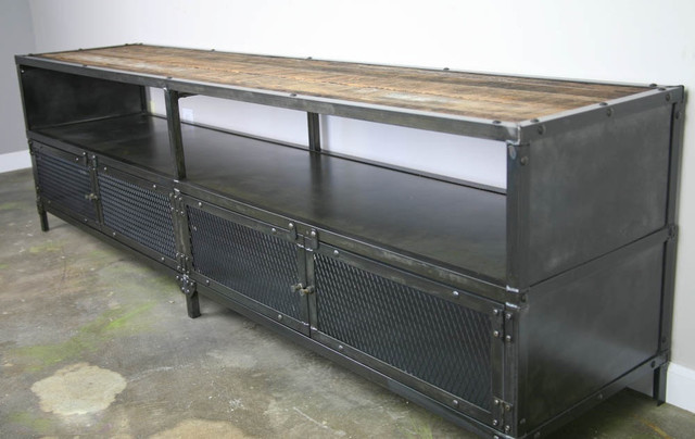 Media Console Credenza   Urban Modern  Vintage Industrial design  Reclaimed  wood industrial. Media Console Credenza   Urban Modern  Vintage Industrial design