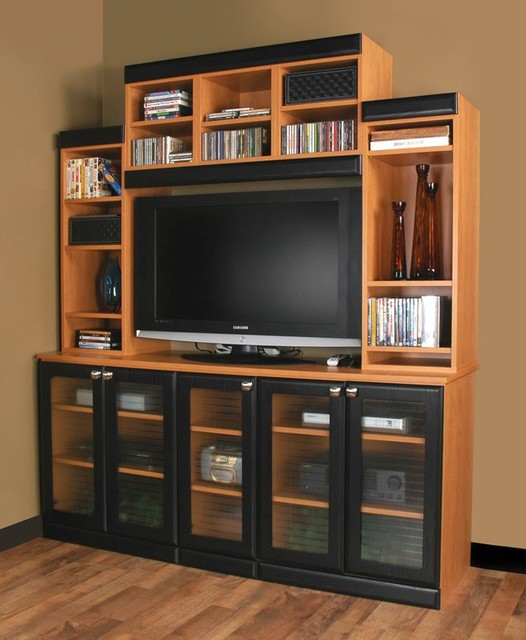 Bon Media, Entertainment Center With Lots Of Storage And Mullen Doors  Traditional Home Theater