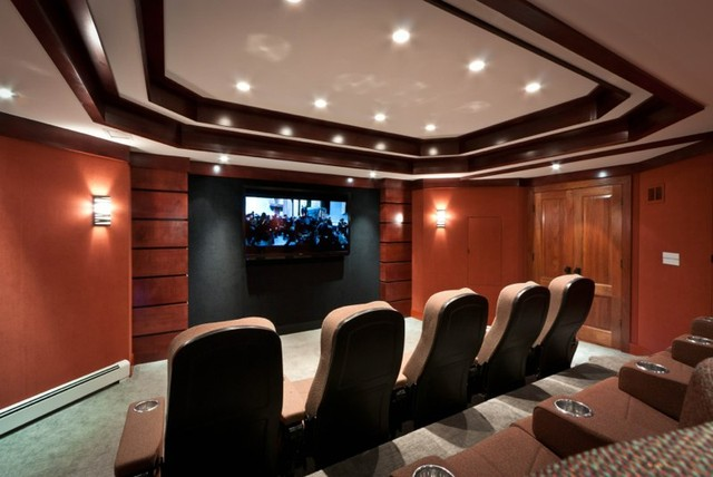 Man Cave Home Theater Ideas : Media man cave home theater projector rooms contemporary