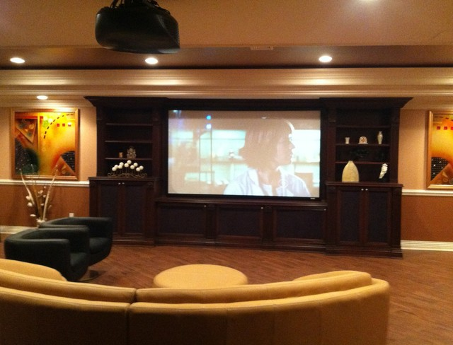 Media Man Cave Home Theater Projector Rooms Contemporary